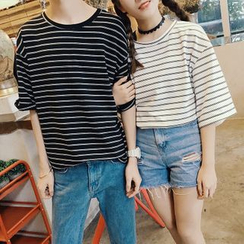 Simpair - Striped Couple Matching Crewneck T-Shirt