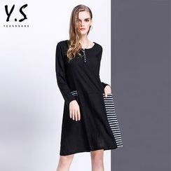 Y:Q - Striped Panel Long-Sleeve Shift Dress