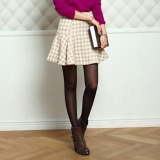 COOLHADA - Houndstooth A-Line Skirt