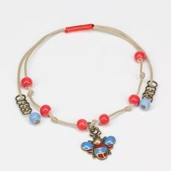 Porcelina - Beaded Anklet with Bee Charm