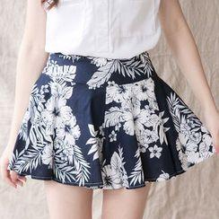 Tokyo Fashion - Floral Print A-Line Culottes