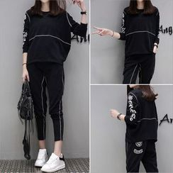 lilygirl - Set: Lettering Pullover + Sweatpants