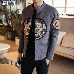 AOBIN - Embroidered Stand Collar Frog Button Jacket