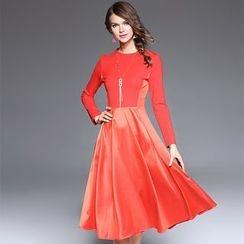 Ozipan - Long-Sleeve Paneled A-Line Dress