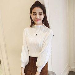 Ashlee - Set: Ribbed Puff-sleeve Knit Top + Corduroy Skirt