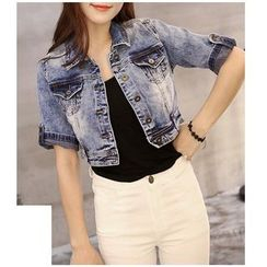 Denimot - Short Sleeve Cropped Denim Jacket