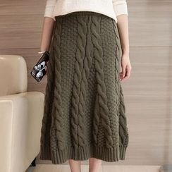Shomez - Cable-Knit Midi Skirt