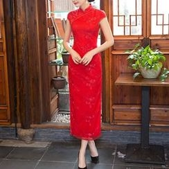 Maura Qipao - Flower Embroidered Cap Sleeve Qipao