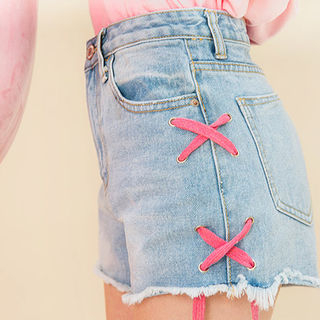 chuu - Lace-Up Side Washed Denim Shorts