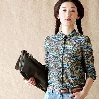 Inman - Long-Sleeve Patterned Chiffon Blouse