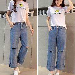 Jeans Kingdom - Ripped Wide Leg Jeans