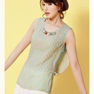 Moonbasa - Jeweled Polka Dot Sleeveless Top