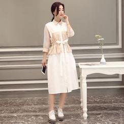 GARAT - 雙色荷葉腰襯衫裙