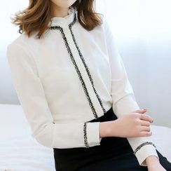 Rosehedge - Contrast Trim Long Sleeve Blouse