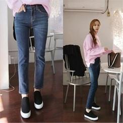 QNIGIRLS - Washed Straight-Cut Jeans