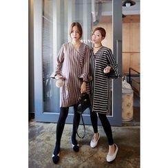 Momnuri - Maternity Ruffle-Cuff Stripe Shift Dress