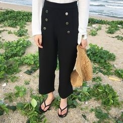 THESUMEY - Buttoned Wide-Leg Pants