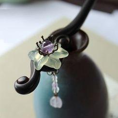 Green Finch - Jade Flower Wooden Hair Stick