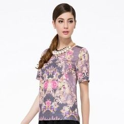 O.SA - Floral-Panel Short-Sleeve Top