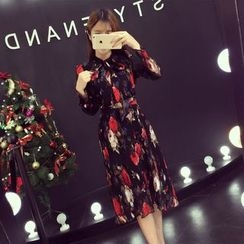 RUI - Long-Sleeve Printed Midi Dress
