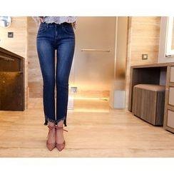 Marlangrouge - Fray-Hem Washed Jeans