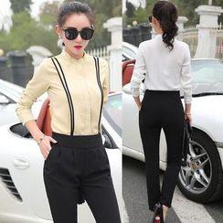 EFO - Set: Long-Sleeve Blouse + Plain Pants