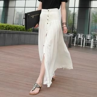 TISVIN - Button-Front Maxi Skirt