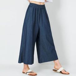 FASHION DIVA - Band-Waist Wide-Leg Denim Pants