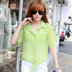HSTYLE Tie-Front Check Blouse