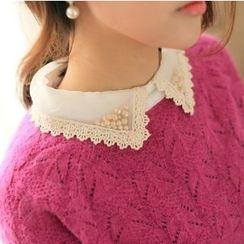 anzoveve - 珠饰领麻花针织毛衣