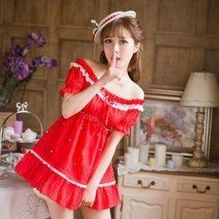Candy Rain - Embellished Off-Shoulder A-Line Dress