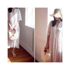 MASoeur - V-Neck Eyelet-Lace Dress