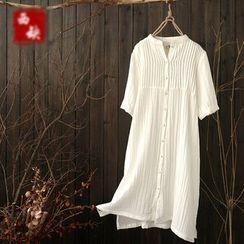 Rosadame - 中袖细褶连衣裙