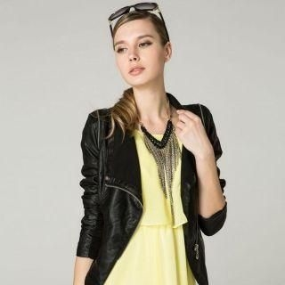 O.SA - Faux-Leather Side-Zip Biker Jacket