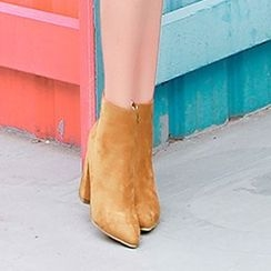 Bossy Lady - Pointy-Toe Chunky-Heel Ankle Boots