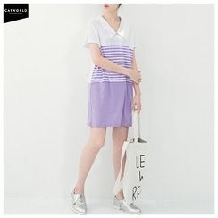 CatWorld - Short-Sleeve Stripe Panel Dress