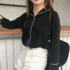 Bloombloom - Piped Long-Sleeve Blouse