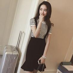 Rocho - Set: Stripe Short-Sleeve T-Shirt + Ruffle Hem Suspender Skirt