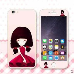 Kindtoy - iPhone 6 / 6 Plus Girl Print Protective Film ( Front & Back)
