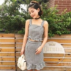 Bloombloom - Set: Gingham Strappy Top + Fitted Skirt
