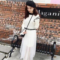 Kofushi - 套装: 条纹喇叭袖针织连衣裙 + 薄纱中长裙