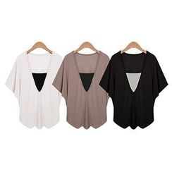 Eloqueen - Short-Sleeve Paneled V-Neck Top