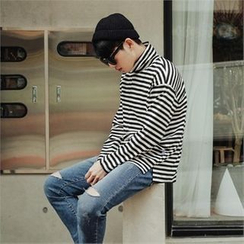 STYLEMAN - Turtle-Neck Stripe T-Shirt