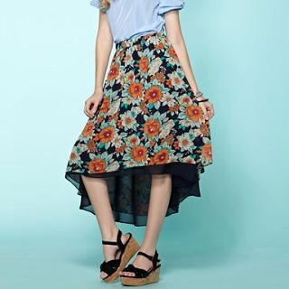 Moonbasa - Floral Dip-Back Maxi Skirt