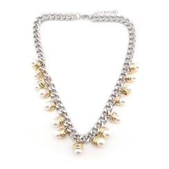 musé - Gold-Silver Blocking Pearl Necklace
