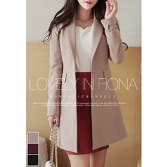 MyFiona - Notched-Lapel Single-Breasted Long Jacket