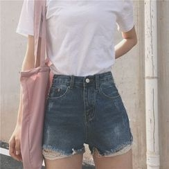 Bloombloom - Fray Denim Shorts