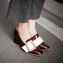JY Shoes - Buckled Heeled Loafers