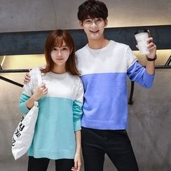 TOOI - Couple Matching Color Block Sweater