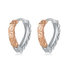 MaBelle - 14K/585 Rose and White Gold Diamond Cut Drop Creole Hoop Earrings